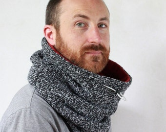 Unisex neckwarmer, scarves men, Snock®, in extra thick high quality white noise wool