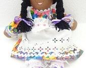 African American doll, cloth dolls, handmade rag doll, fabric dolls, hand made rag doll, ragdoll, little girl toy doll, cloth toy,  NF242