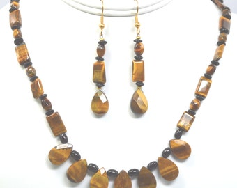 Tiger Eye and Black Jasper Necklace and Earring Set (A129)
