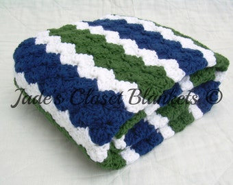 Crochet Baby Blanket, Baby Blanket, Crochet Green Blue Baby Blanket, Blue, Green, and White, crib size