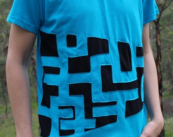 Males Psy Side Sweep Circuit T-shirt Blue and Black