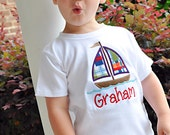 Sailboat shirt or bodysuit for boys - Sail Away - red, blue, green, orange madras for summertime - great for beach photos