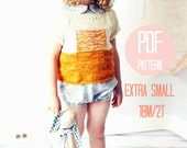 XS Sunrise Sweater Knitting Pattern Knit Color Block Textured Modern Pullover Baby Girl Knitting Pattern