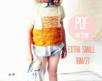 XS Sunrise Sweater Knitting Pattern Knit Color Block Textured Modern Pullover Baby Girl Knitting Pattern