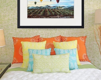 "ORIGINAL Art Abstract Vineyard Painting Hot Air Balloons Large Landscape Wine Palette Knife Coastal Wall Art Decor 48"" - Christine Krainock"