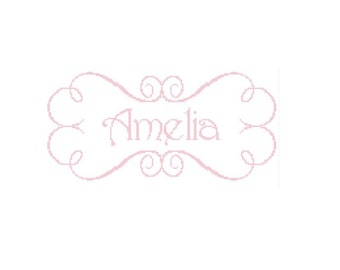 Swirls with Girls Name Cross Stitch Pattern