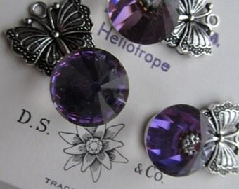 Vintage Swarovski Heliotrope Crystal In Butterfly Setting