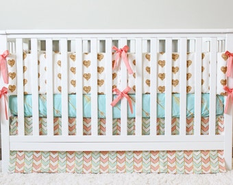Coral, Mint and Gold Bedding, Custom Crib Bedding, Baby Bedding - Baby Girl Crib Bedding