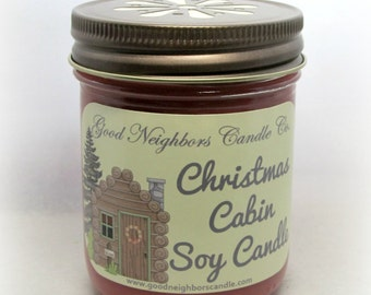 Soy Candle, 8 ounce Christmas Cabin, Red Holiday Candle, Cotton Wick, Cinnamon and Pine with more