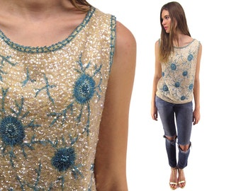 60s Sequins Beaded Shell Top, Handmade Wool Beaded Top, 60s Starburst Sequins Top ΔΔ sm / md