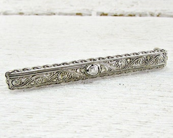 Antique Art Deco Diamond Bar Brooch Pin,18K Solid White Gold Brooch, Gold Filigree Brooch, 1920s Fine Estate Jewelry, Valentines Day Gift