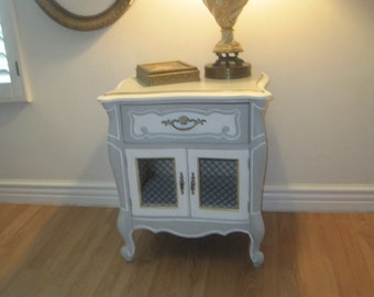 French Provincial Vintage Bed Side Table Night Stand - Cottage Chic in Distressed Dove Grey, White & Gold