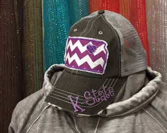 Kansas State University Wildcats Baseball Bling Ladies Womens Trucker Hat