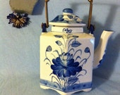 Asian Hexagonal Cobalt Blue and White Teapot Vintage Hand Painted Porcelain Floral Teapot with Solid Brass Handle Chinese Traditional Teapot