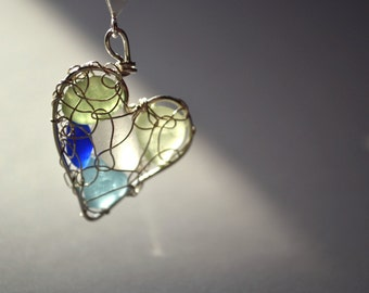 Custom Genuine Sea Glass Heart Mothers or Grandmothers Birthstone Necklace