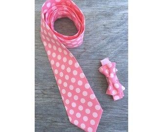 Coral Pink Ties - Coral and Pink Polka Dot tie - Father and Son Ties - Matching Tie Set - Pink Ties - Pink Ties for Men - Daddy and Baby Tie