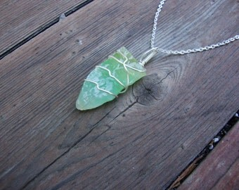 Raw green calcite on gold toned chain