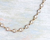 Glass In Brass Circles - Vintage Short Necklace
