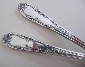 2 vintage meat forks, coldcut or serving forks, ornate fancy pattern, silverplated two tined