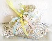 Heart Sachet, Sachet Heart, Light Blue with Daisy Print Fabric, Cottage Style,Cloth Handmade CharlotteStyle Decorative Folk Art