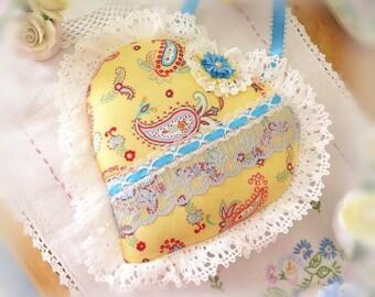 Ruffled Heart Ornament Heart Door Hanger, 9 inch Heart Pillow, Yellow Paisley, Cottage Chic, Handmade CharlotteStyle Decorative Folk Art