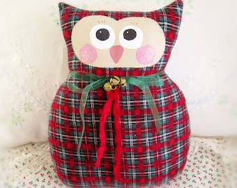 SALE Owl Pillow, Christmas Owl Doll 9 inch PLAID Soft Sculpture Prim Primitive Cloth Handmade Handcrafted CharlotteStyle Decorative Folk Art