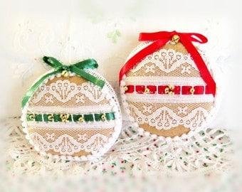 2 Felt Gingerbread Christmas Tree Ornaments 3.5 inches Cottage Style Handmade Christmas Holiday Ornaments CharlotteStyle Decorative Folk Art
