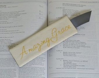 Amazing Grace Bookmark - Christian Bible Book Accessory - Religious Hand Embroidery - Grey Yellow - Sunday School Teacher Thank You Gift
