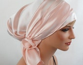 Silk Charmeuse Tichel, Light Pink Hair Snood, Head Covering Scarf Bandana, Chemo Wrap, Sinar or Apron Tichel, Jewish Head covering