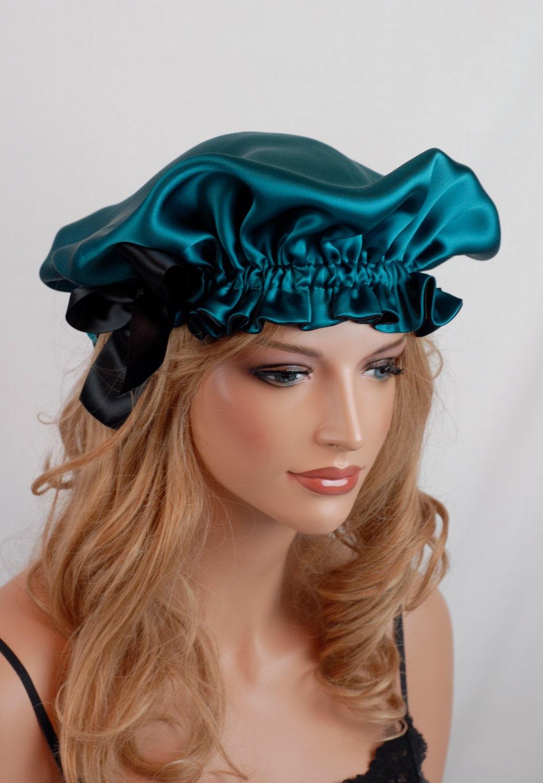 Silk Sleep Bonnet Peacock And Black Charmeuse Fully