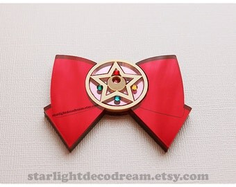 MADE to ORDER Sailor Moon Bow and Crystal Star with Swarovski Crystals Acrylic Pieces for Deco or Necklace!