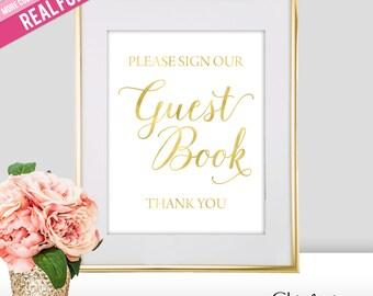 Guest Book Wedding Sign - Guest Book Sign - Please Sign Our Guest Book - Wedding Signs - Gold Wedding Signs - Gold Wedding Decor (FS2)