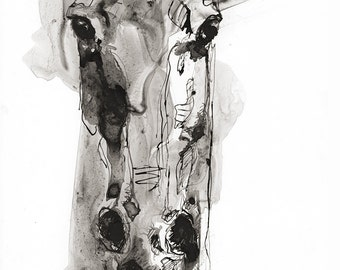 Alert 5 - Black ink Horse Original Drawing on Paper