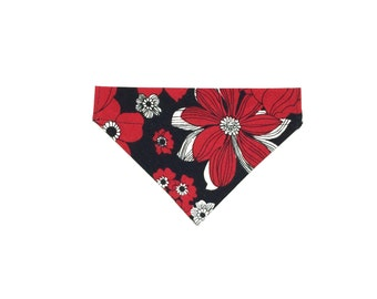 Small Red, Black and White Floral Slip On Dog Bandana Over the Collar