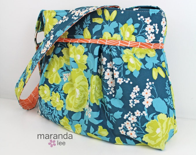 Stella Diaper Bag - Large - Flroa Eucalyptis with Carrot Trellis -  Nappy Bag Stroller Attachment