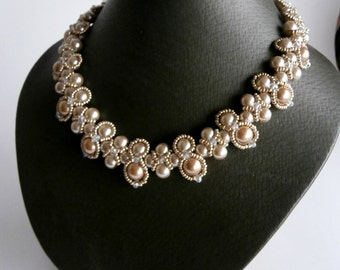 Champagne Wedding Necklace, Seed Bead Jewelry, Beadweaving , Beadwork Necklace, Mother's Day Gift