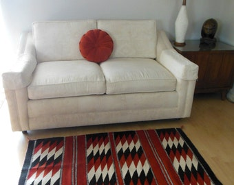 Navajo Wool Rug Southwestern Weaving Rectangle Traditional Design Rug from The Back Part of the Basement
