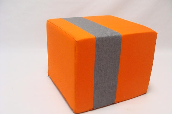 orange ottoman pouf grey stripe minimalistic modern floor. Black Bedroom Furniture Sets. Home Design Ideas