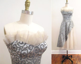 Vintage 1950s Dress | Silver and Gray Tulle 1950s Prom Dress | 1950s Party Dress | size xs - small