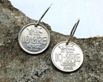 Honeybee Earrings - vintage Norwegian 10 ore coin earrings - tiny bee dangles - Norway - Scandinavian - Viking - monogram O V