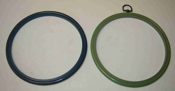 Sale Two 2 PLASTIC EMBROIDERY HOOPS One Light Green