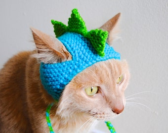 Dinosaur Cat Costume - Teal and Lime - Hand Knit Cat Hat - Cat Halloween Costume