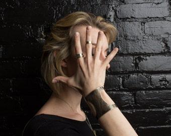 Brass Bracelet | Textured Gold and Blackened Brass Statement Cuff | Cut Out Cuff | Oxidized Cuff | Gold Cuff Bracelet | Extra Wide Cuff