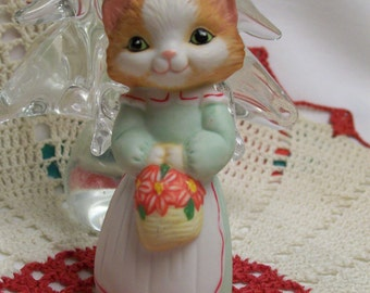Vintage Hallmark Ornament Christmas Kitty 1989 First in Christmas Kitty Series Fine Porcelain First Edition