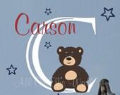 Baby Boy Name Wall Decal Teddy Bear Nursery Decor Vinyl
