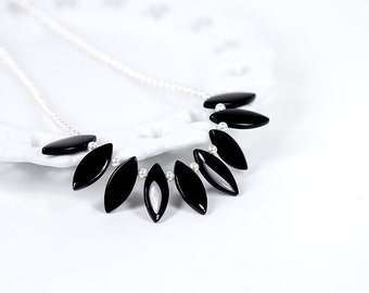 Swarovski Pearl Necklace White Pearl Necklace Black and White Beaded Necklace