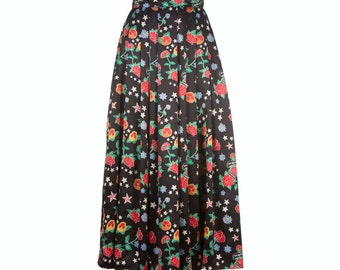 SUPER SALE Extra long skirt from printed satin, womens maxi skirt, size S-XXL