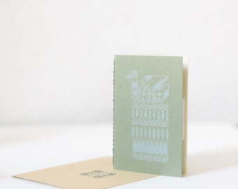 Green geometric notebook with screen printed illustration Duck