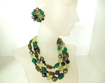 "Vintage Demi Parure Choker Necklace Clip Earrings Bead Triple Strand Green Gold 15 1/2"" 50's W. Germany (item 12)"