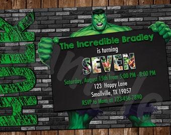 Incredible Hulk Birthday Invitation (TH02)